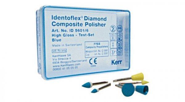 Алмазные полиры с двумя зонами для полировки композитов, компомеров, стеклоиономеров Identoflex™️ Diamond Composite (пробный набор)