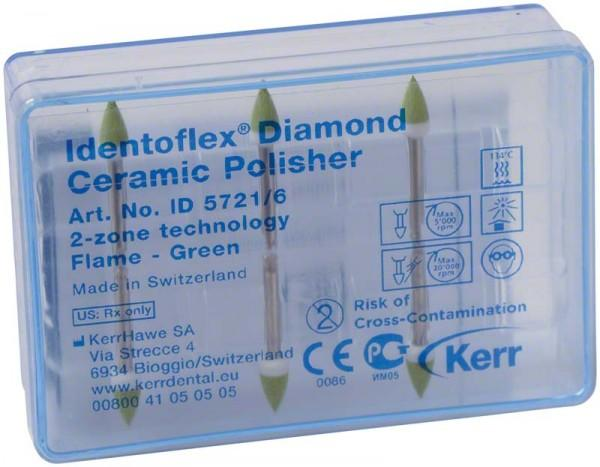 Алмазные полиры с двумя зонами для обработки керамики Identoflex™️ Diamond Ceramic (пламя)