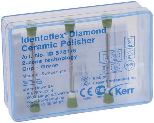 Алмазные полиры с двумя зонами для обработки керамики Identoflex™️ Diamond Ceramic (чашечка)