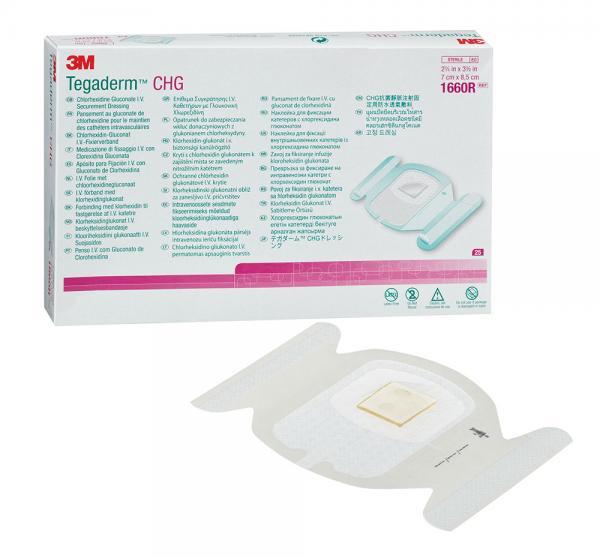 Пластырь прозрачный пленочный Tegaderm с хлоргексидина глюконатом для фиксации катетеров, 7 см х 8,5 см