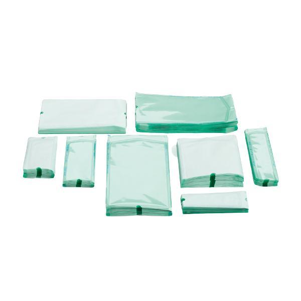 Материал упаковочный для стерилизации: пакеты плоские (размеры:  длина 200 мм; ширина 100 мм)
